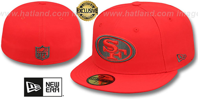 49ers 'NFL TEAM-BASIC' Fire Red-Charcoal Fitted Hat by New Era : pictured without stickers that these products are shipped with