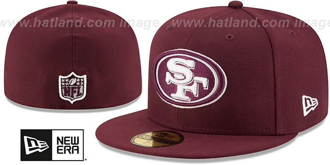 49ers 'NFL TEAM-BASIC' Maroon-White Fitted Hat by New Era : pictured without stickers that these products are shipped with
