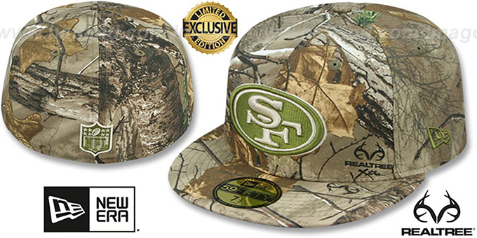 49ers 'NFL TEAM-BASIC' Realtree Camo Fitted Hat by New Era : pictured without stickers that these products are shipped with