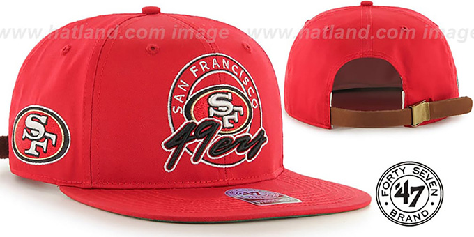 49ers 'NFL VIRAPIN STRAPBACK' Red Hat by Twins 47 Brand : pictured without stickers that these products are shipped with
