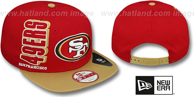 49ers 'RALLYMARK SNAPBACK' Red-Gold Hat by New Era : pictured without stickers that these products are shipped with