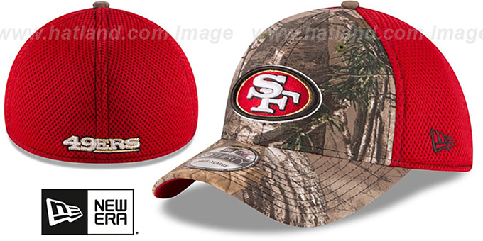 49ers 'REALTREE NEO MESH-BACK' Flex Hat by New Era : pictured without stickers that these products are shipped with
