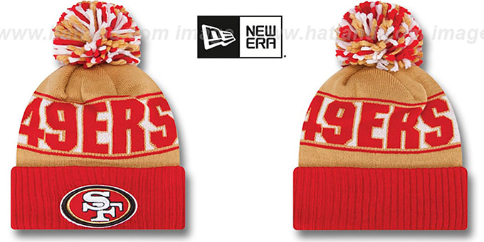 49ers 'REP-UR-TEAM' Knit Beanie Hat by New Era : pictured without stickers that these products are shipped with