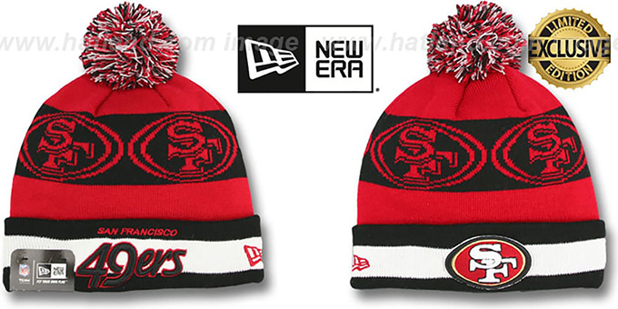 49ers 'REPEATER SCRIPT' Knit Beanie Hat by New Era : pictured without stickers that these products are shipped with