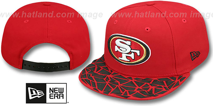 49ers 'RUBBER MATTE SNAPBACK' Red Hat by New Era : pictured without stickers that these products are shipped with