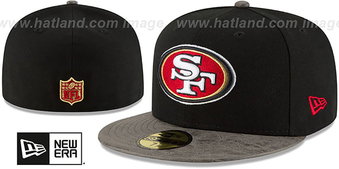 49ers 'RUSTIC-VIZE' Black-Grey Fitted Hat by New Era : pictured without stickers that these products are shipped with