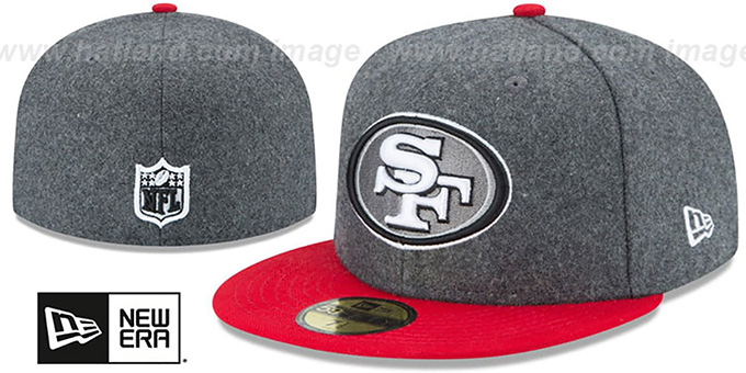49ers 'SHADER MELTON' Grey-Red Fitted Hat by New Era : pictured without stickers that these products are shipped with