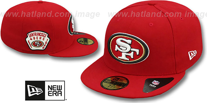 49ers 'SIDE TEAM-PATCH' Red Fitted Hat by New Era : pictured without stickers that these products are shipped with