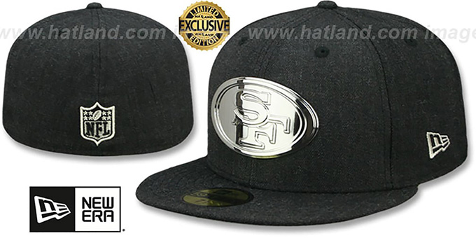 49ers 'SILVER METAL-BADGE' Heather Black Fitted Hat by New Era
