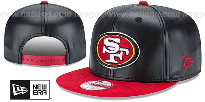 49ers 'SMOOTHLY STATED SNAPBACK' Black-Red Hat by New Era : pictured without stickers that these products are shipped with