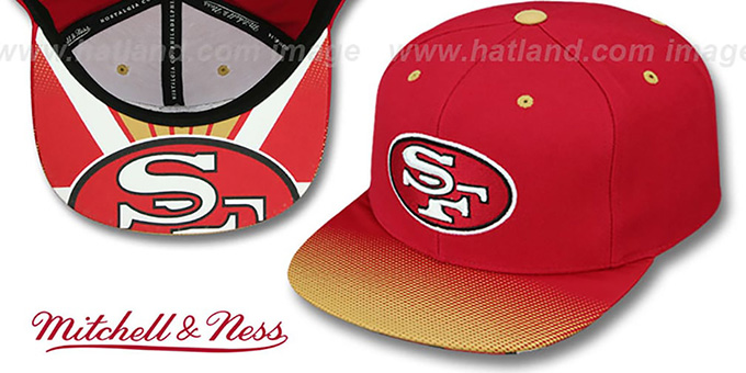 49ers 'STOP-ON-A-DIME SNAPBACK' Red-Gold Hat by Mitchell and Ness : pictured without stickers that these products are shipped with