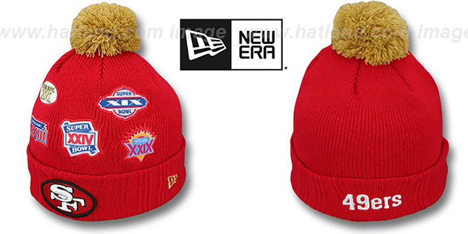 49ers 'SUPER BOWL PATCHES' Red Knit Beanie Hat by New Era : pictured without stickers that these products are shipped with
