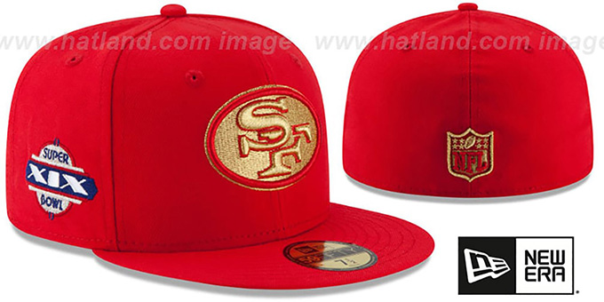 49ers 'SUPER BOWL XIX GOLD-50' Red Fitted Hat by New Era : pictured without stickers that these products are shipped with