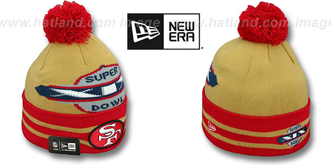 49ers 'SUPER BOWL XIX' Gold Knit Beanie Hat by New Era : pictured without stickers that these products are shipped with