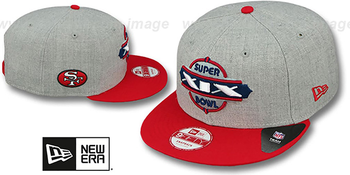 49ers 'SUPER BOWL XIX SNAPBACK' Grey-Red Hat by New Era : pictured without stickers that these products are shipped with