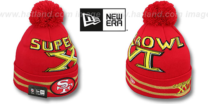 49ers 'SUPER BOWL XVI' Red Knit Beanie Hat by New Era : pictured without stickers that these products are shipped with