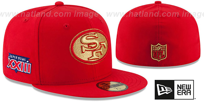 San Francisco 49ers SUPER BOWL XXIII GOLD-50 Red Fitted Hat 7483be7b0e0