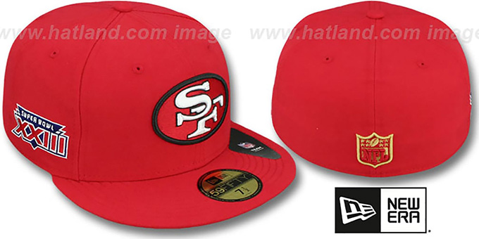 49ers 'SUPER BOWL XXIII' Red Fitted Hat by New Era : pictured without stickers that these products are shipped with