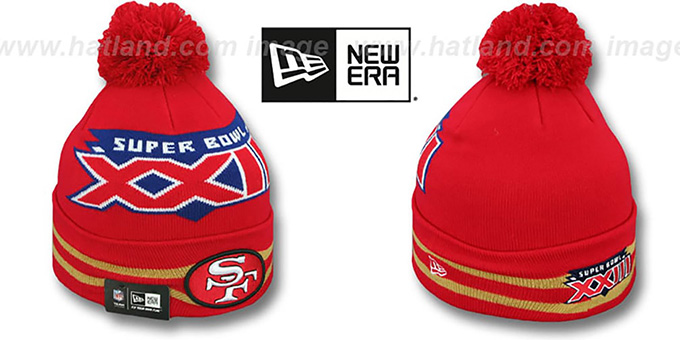 49ers 'SUPER BOWL XXIII' Red Knit Beanie Hat by New Era : pictured without stickers that these products are shipped with