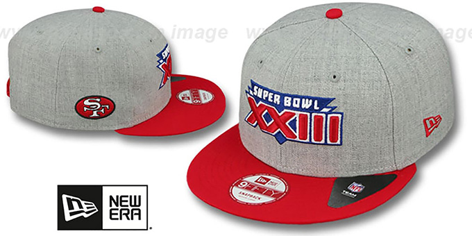 49ers 'SUPER BOWL XXIII SNAPBACK' Grey-Red Hat by New Era : pictured without stickers that these products are shipped with