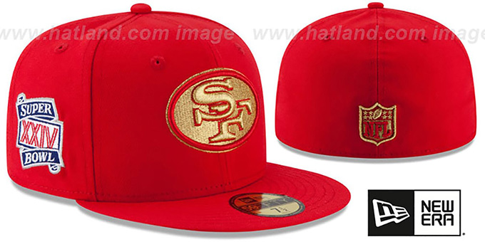 49ers 'SUPER BOWL XXIV GOLD-50' Red Fitted Hat by New Era : pictured without stickers that these products are shipped with