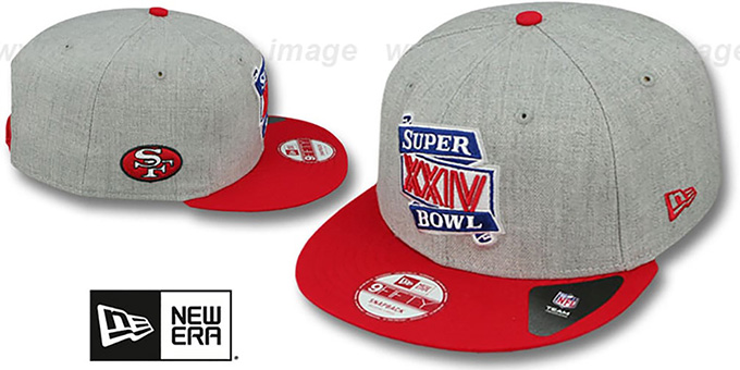 49ers 'SUPER BOWL XXIV SNAPBACK' Grey-Red Hat by New Era : pictured without stickers that these products are shipped with