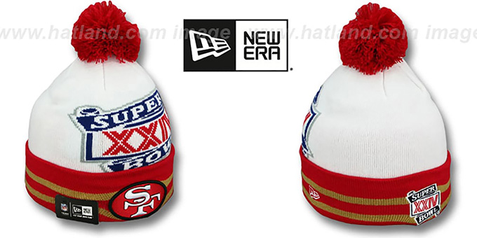 49ers 'SUPER BOWL XXIV' White Knit Beanie Hat by New Era : pictured without stickers that these products are shipped with