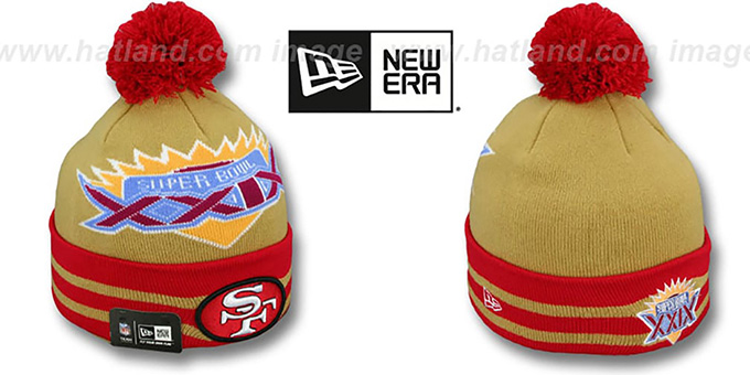 49ers 'SUPER BOWL XXIX' Gold Knit Beanie Hat by New Era : pictured without stickers that these products are shipped with