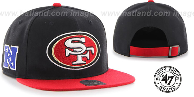 49ers 'SUPER-SHOT STRAPBACK' Black-Red Hat by Twins 47 Brand : pictured without stickers that these products are shipped with