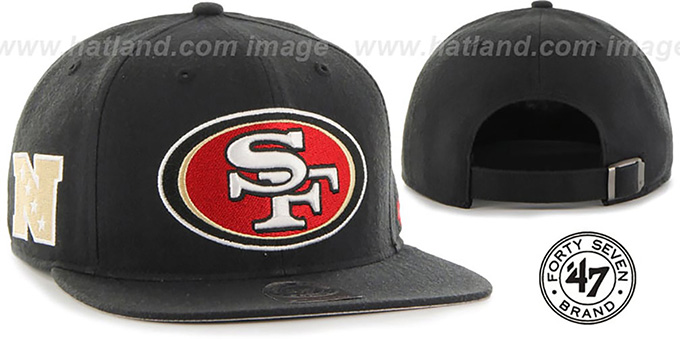 49ers 'SUPER-SHOT STRAPBACK' Black Hat by Twins 47 Brand : pictured without stickers that these products are shipped with