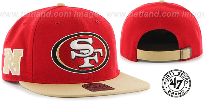 49ers 'SUPER-SHOT STRAPBACK' Red-Gold Hat by Twins 47 Brand : pictured without stickers that these products are shipped with