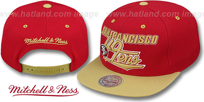 49ers 'TAILSWEEP SNAPBACK' Red-Gold Hat by Mitchell and Ness : pictured without stickers that these products are shipped with
