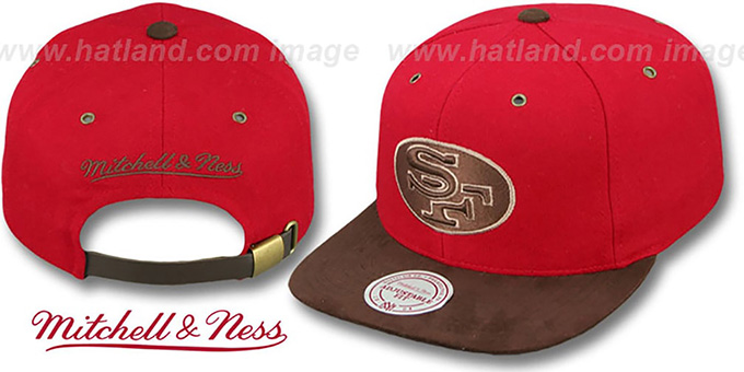 49ers 'TC-BROWN SUEDE STRAPBACK' Hat Mitchell & Ness : pictured without stickers that these products are shipped with