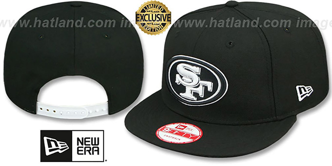 49ers 'TEAM-BASIC SNAPBACK' Black-White Hat by New Era : pictured without stickers that these products are shipped with