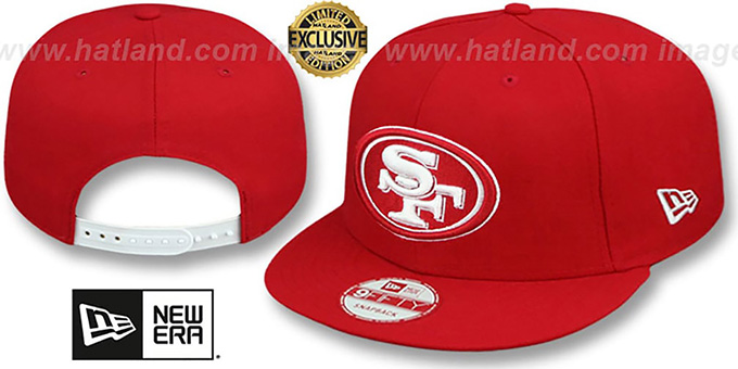 49ers 'TEAM-BASIC SNAPBACK' Red-White Hat by New Era : pictured without stickers that these products are shipped with