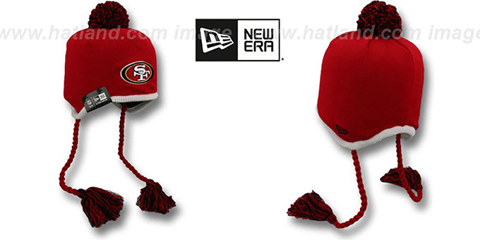 49ers 'TEAM-TONE TASSLE' Red Knit Beanie Hat by New Era : pictured without stickers that these products are shipped with