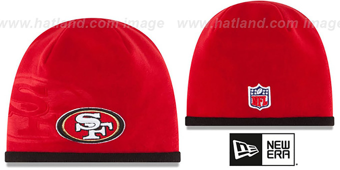49ers 'TECH-KNIT STADIUM' Red-Black Knit Beanie Hat by New Era : pictured without stickers that these products are shipped with