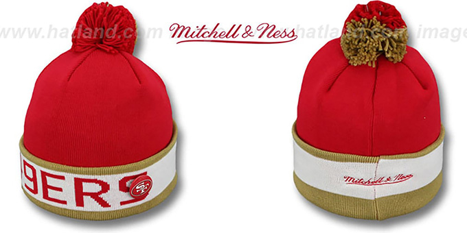49ers 'THE-BUTTON' Knit Beanie Hat by Michell & Ness : pictured without stickers that these products are shipped with