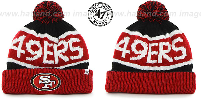 49ers 'THE-CALGARY' Red-Black Knit Beanie Hat by Twins 47 Brand : pictured without stickers that these products are shipped with