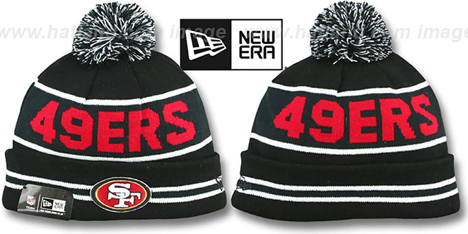 49ers 'THE-COACH' Black-Black Knit Beanie Hat by New Era : pictured without stickers that these products are shipped with