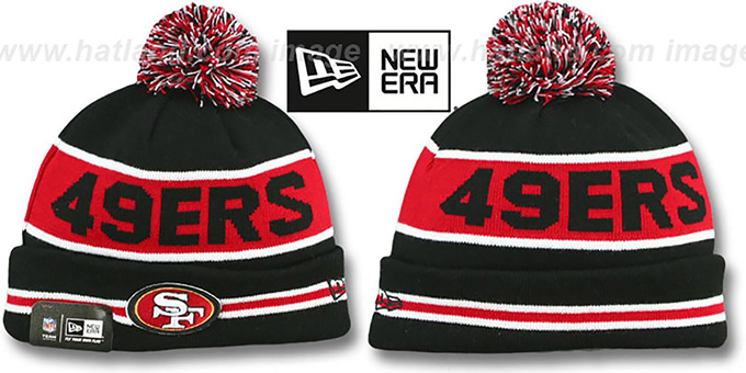 49ers 'THE-COACH' Black-Red Knit Beanie Hat by New Era : pictured without stickers that these products are shipped with