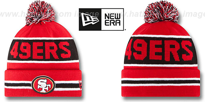 49ers 'THE-COACH' Red Knit Beanie Hat by New Era : pictured without stickers that these products are shipped with