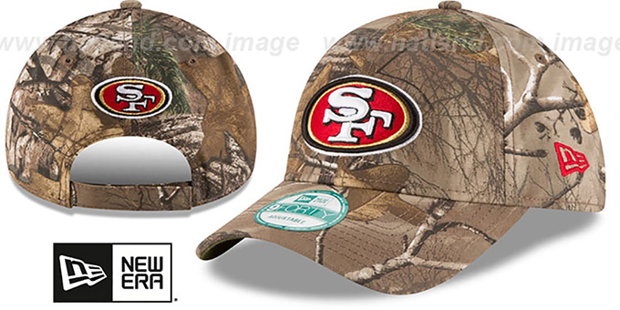 49ers 'THE LEAGUE REALTREE' Strapback Hat by New Era : pictured without stickers that these products are shipped with