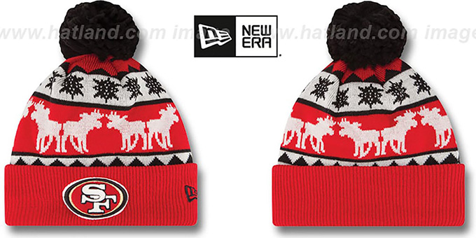 49ers 'THE-MOOSER' Knit Beanie Hat by New Era : pictured without stickers that these products are shipped with