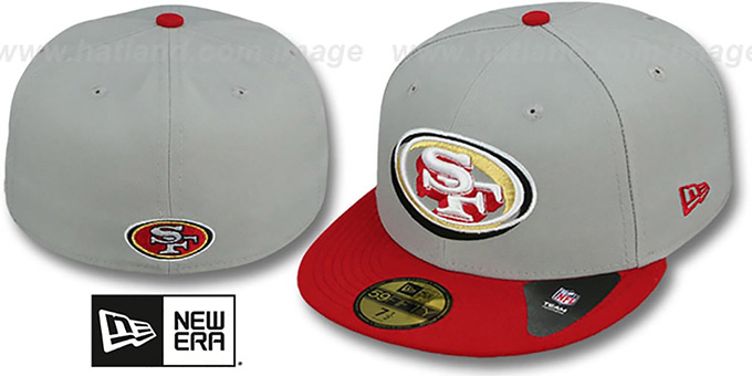 49ers 'TRACE-POP' Grey-Red Fitted Hat by New Era : pictured without stickers that these products are shipped with