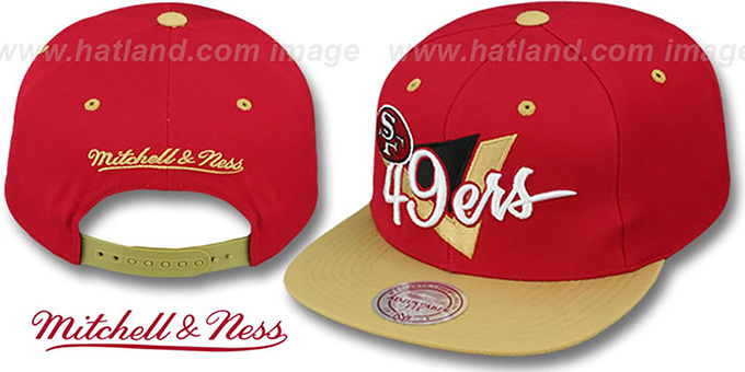 49ers 'TRIANGLE-SCRIPT SNAPBACK' Red-Gold Hat by Mitchell and Ness : pictured without stickers that these products are shipped with