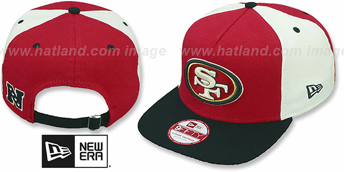 49ers 'TRIPLE MELTON STRAPBACK' Red-White-Black Hat by New Era : pictured without stickers that these products are shipped with