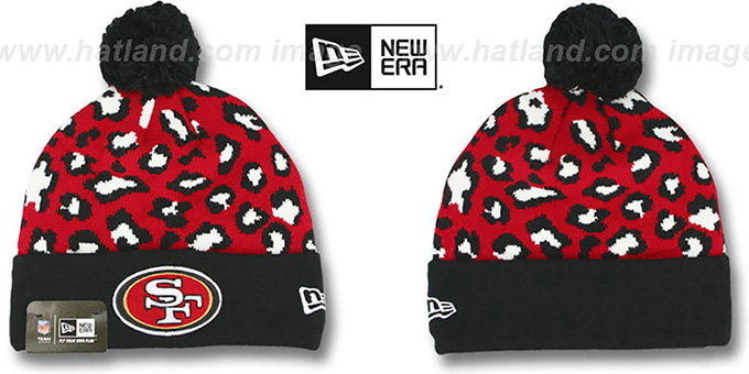 49ers 'WINTER-JUNGLE' Knit Beanie Hat by New Era : pictured without stickers that these products are shipped with
