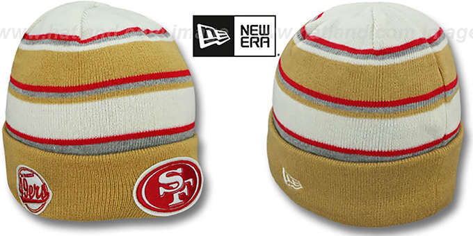 49ers 'WINTER TRADITION' Knit Beanie Hat by New Era : pictured without stickers that these products are shipped with