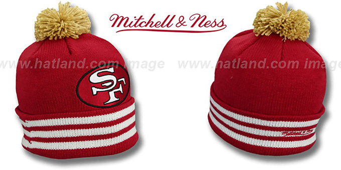 49ers 'XL-LOGO BEANIE' Burgundy by Mitchell and Ness : pictured without stickers that these products are shipped with